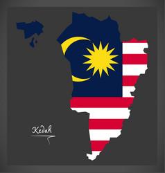 Kedah malaysia map with malaysian national flag vector
