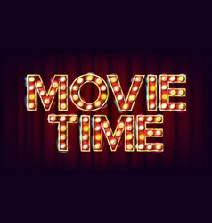 movie time poster cinema vintage style vector image vector image