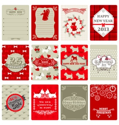 Set of Vintage Christmas Tags vector image vector image