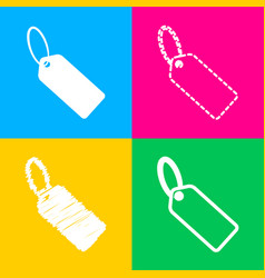 tag sign four styles of icon on four vector image