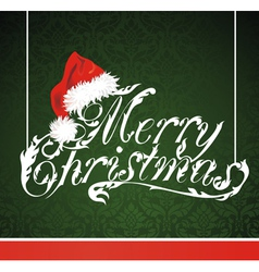 Christmas lettering with Santa Claus hat vector image vector image