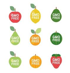 GMO Free tag logo label emblem for plant fruits vector image vector image