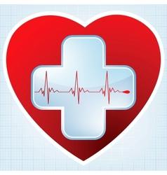 Heart medical cross vector