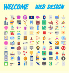 100 icon set trendy thin and simple icons for web vector image