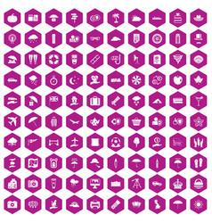 100 umbrella icons hexagon violet vector