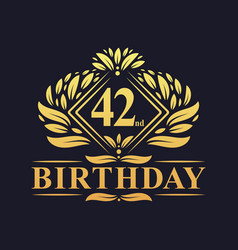42 years birthday logo luxury golden 42nd vector