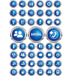 a set of thematic icons on the buttons vector image