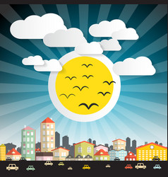 abstract city with big sun and cars street vector image