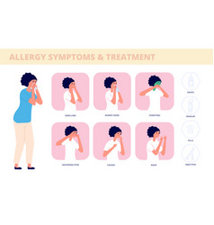 Allergy symptoms allergic cough sick woman vector