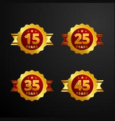 anniversary logo badge with ribbon design set of vector image