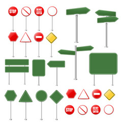 Big set stop signs and traffic sign collection vector