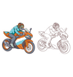 Bikers ride on motorbikes isolated on white backgr vector