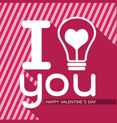Bulb with heart idea concept for happy valentines vector