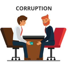 Businessman giving bribe money corruption vector