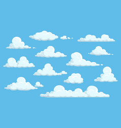 Cartoon clouds in blue sky isolated icons vector