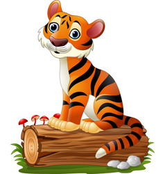 cartoon tiger sitting on tree log vector image