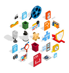 computer expansion icons set isometric style vector image