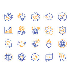 Core values line icons integrity target purpose vector