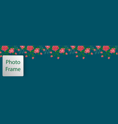 Cover for web with floral ornament from pink roses vector
