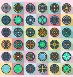 Crosshair target scope sight icons set flat style vector
