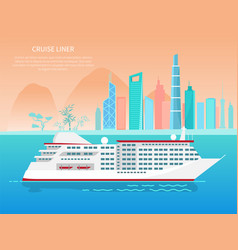 Cruise liner poster and text vector