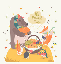 cute animals harvesting vector image