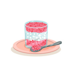 Delicious sago pudding in glass and spoon tasty vector