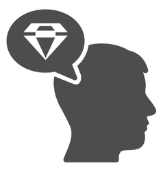 Diamond Thinking Flat Icon vector
