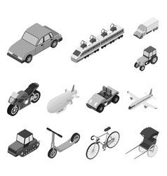 Different types of transport monochrome icons in vector