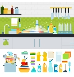 Dirty sink with kitchenware vector image