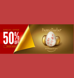 easter sale eggs on golden background vector image