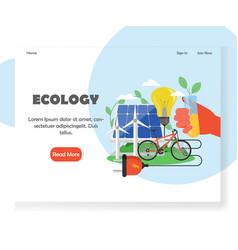 ecology website landing page design vector image