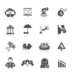 Economic crisis icons vector