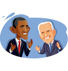 editorial use barak obama and joe biden vector image
