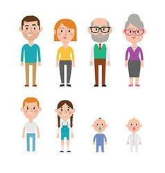 Flat Caucasian Family Members vector