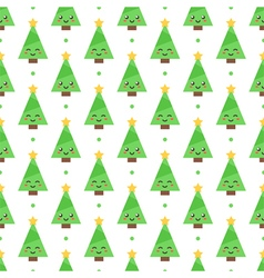 Flat design emoji christmas trees seamless pattern vector