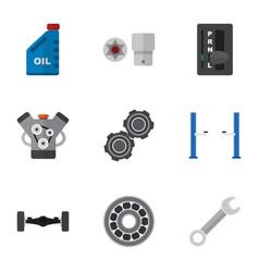 flat icon workshop set of motor turnscrew petrol vector image