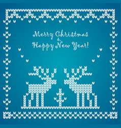 Flat knitted pattern with raindeer vector