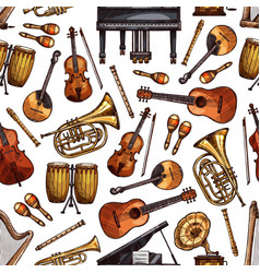 Folk music instruments sketch seamless pattern vector