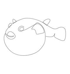fugu fish drawn one line vector image