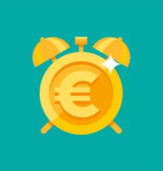 gold alarm clock with euro symbol vector image