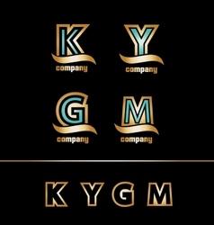 Gold golden letter logo icon set vector image