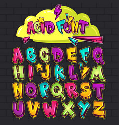 Graffiti acid font vector