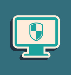 Green monitor and shield icon isolated on blue vector