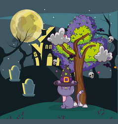 Halloween cat and haunted house vector