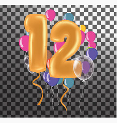 Happy birthday twelve year fun celebration vector