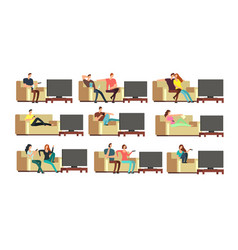 happy family at home watching tv young couple vector image