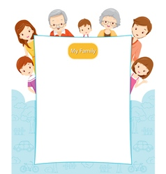 Happy Family With Blank Sign vector image