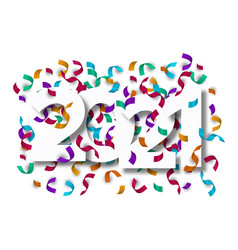 happy new year 2021 carnival party confetti card vector image