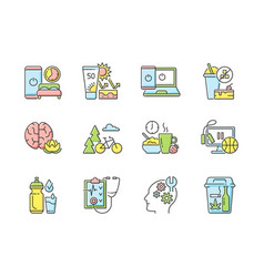 Healthy activity rgb color icons set vector